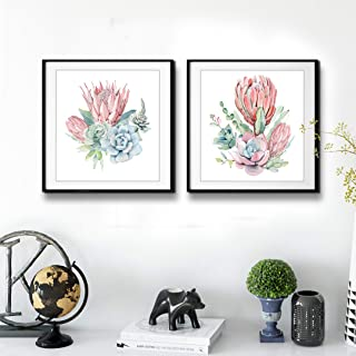 Floral Painting Canvas Prints Wall Art, Watercolor Succulent Cactus Green Leaf Flower Pictures, Tropical Green Plant Wall Decor Home Decoration for Living Room Bedroom 20x40 inches