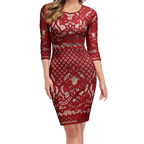 51a443a57d WOOSUNZE Women s Long Sleeve Crochet Lace Fit and Flare Cocktail Party Dress