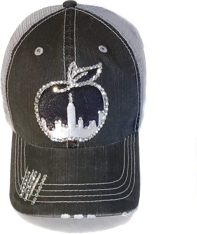Elivata Womens New York City Hat Bedazzled Crystal Patch Black Distress Denim Trucker Cap