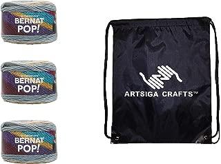 Bernat Knitting Yarn Pop Foggy Notion 3-Skein Factory Pack (Same Dyelot) 164184-84012 Bundle with 1 Artsiga Crafts Project Bag