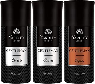 Yardley London Body Spray for Men, Modern masculine fragrance, all day freshness, Value pack 150 ml x 3 (Gentlemen Classic...