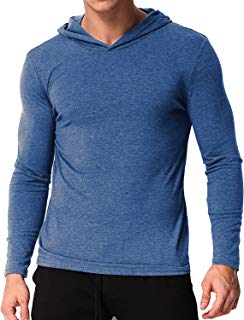 PODOM Men's Long Sleeve T Shirt Hoodies Lightweight Pullover Thin Tee Shirts Cotton V Neck Tops
