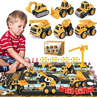 Pull Back Construction Vehicle Toys for Kids, Pull Back Toy Trucks for Boys Age 3 4 5, Small Diecast Construction Vehicles...