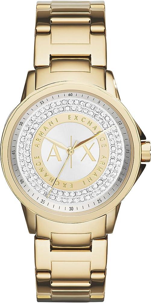 Armani exchange, orologio analogico per donna, in acciaio inossidabile AX4321