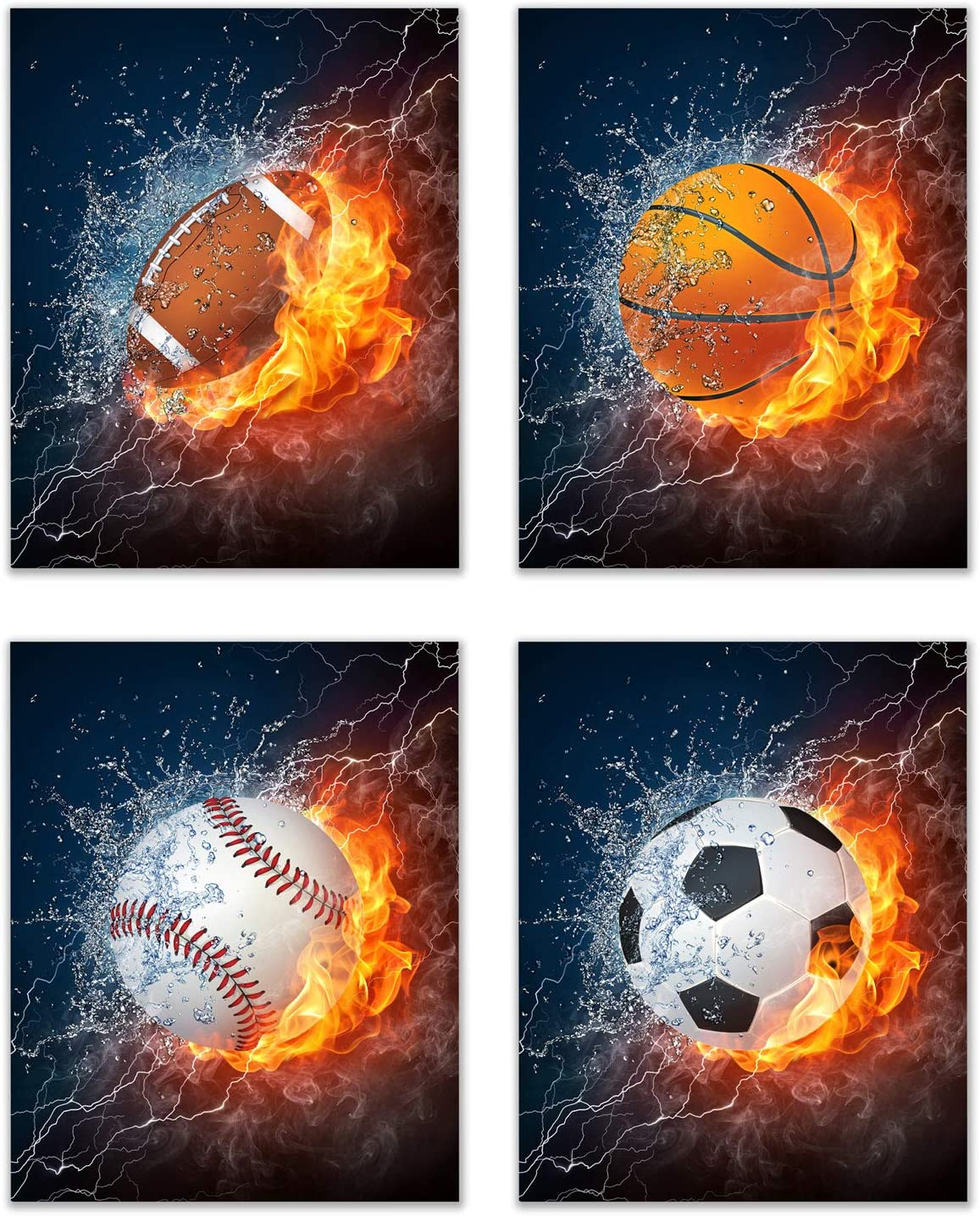 Flame Sports Balls Wall Art Décor – Set of 4 Unframed (8x10) Poster Photos – Basketball Baseball Soccer Football