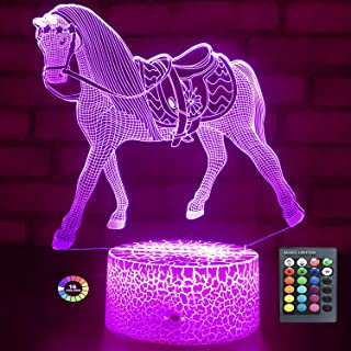 Menzee Horse Gifts for Girls,Horse Lamp Night Light for Kids Room Decor with Remote Control & Smart Touch 7 Colors Horse T...