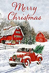 Winter Garden Flag Merry Christmas Garden Flags Yard Flag for Outside, Red Truck Christmas Decorations Garden Flags 12x18 Double Sided Include with Xmas Tree Snow House Elements (merry Christmas)