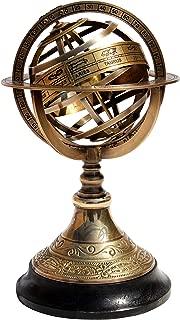 "Brass Armillary Base Wood Globe Sphere Maritime Office//Home Decor 5/"""