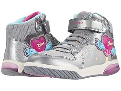 Geox Kids Inek 3 (Little Kid/Big Kid) (Dark Silver/Fuchsia) Girl