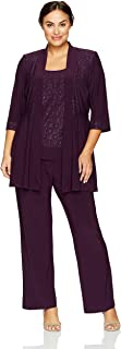 R&M Richards Women's Plus Size Two Piece Glitter and Lace Pant Set Large