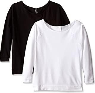 Clementine Apparel 2 Pack Women's French Terry 3/4 Raglan Sleeve T Shirt Scoop Neck Cotton Blend Top Tees (6951)