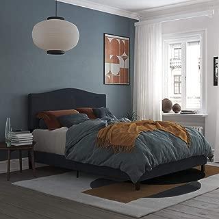 REALROOMS Mason Upholstered Panel Bed, Strong Steel Slat Support, Full Size Frame, Blue Linen