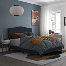 REALROOMS Mason Upholstered Panel Bed, Strong Steel Slat Support, Queen Size Frame, Blue Linen