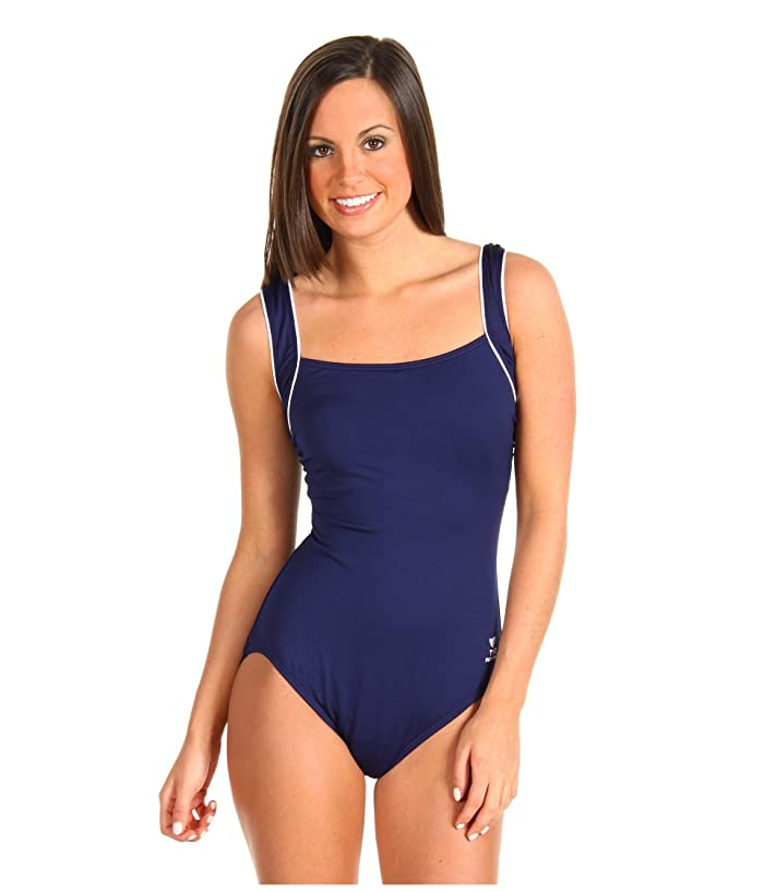 TYR Solid Square Neck Tank Suit (Navy) Women