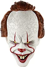 ZIFUNMUR Adult Horror Clown Joker Stephen Latex Costume Mask Scary Halloween Cosplay Party Decoration Props White