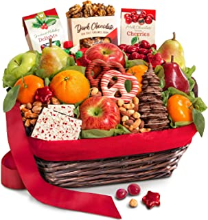 Holiday Chocolate, Nuts & Fresh Fruit Gift Basket