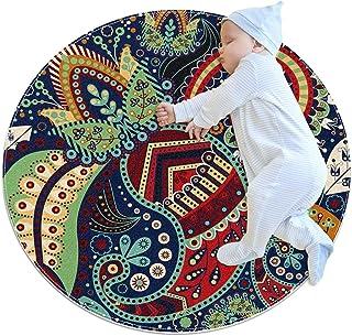 Vintage etnisk paisley boho blommigt tryck, barn rund matta polyester överkast matta mjuk pedagogisk tvättbar matta barnka...