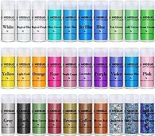 MOSUO Pigments Poudre de Mica, 30 Couleurs Colorant de Savon(5g), Pigment Resine Epoxy Pailletées Naturel Minerale pour Bo...
