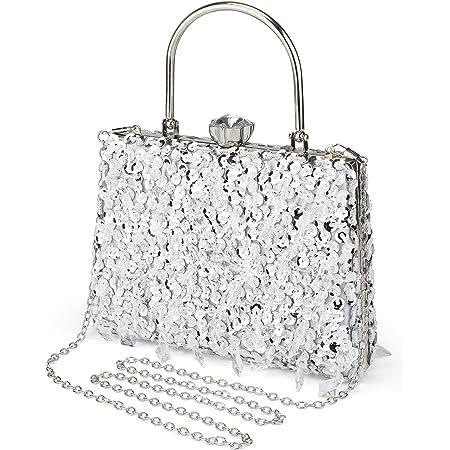 UBORSE Abendtasche Damen Diamant Clutch Bag Kette Shiny Strass Handtasche Umhängetasche für Hochzeit Party - Silber