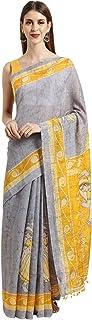 Monira Women's Cotton Silk Madhubani Print Traditional Saree With Blouse Piece