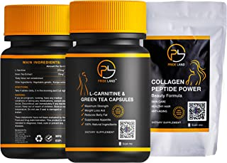 (2 Pack) 500 mg L-Carnitine 150 Capsules & Collagen Peptide Powder|Anti-Age|Weight Loss|Boost Energy|Burn Fat|Vegan/Vegetarian Capsules|GMO Free|Gluten Reduced|Bulk Nutritional Supplements|Amino Acids