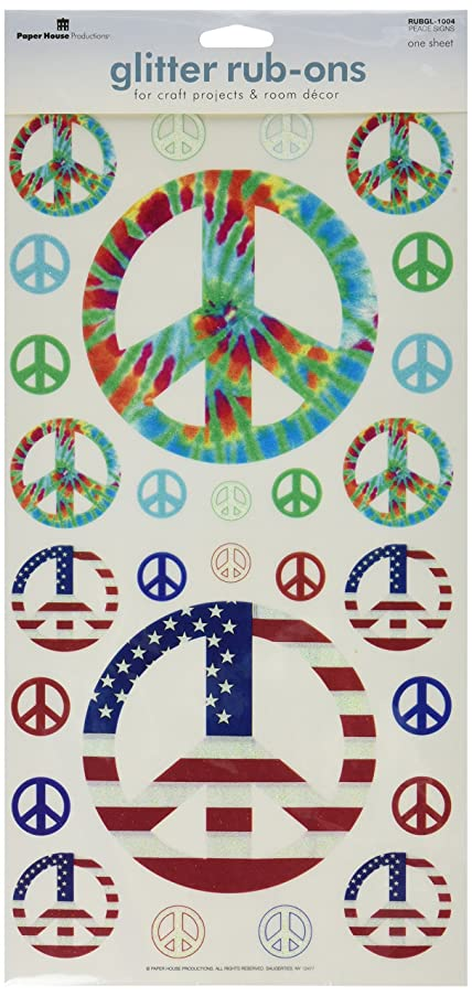 Paper House Productions RUBGL-1004E Single Sheet Borderless Glitter Rub-Ons, Peace Signs