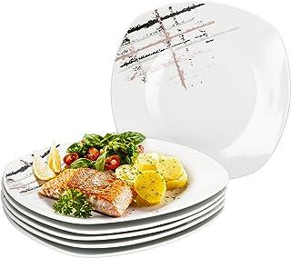 MamboCat Crossy Lot de 6 assiettes plates carrées Style industriel I 6 assiettes plates Ø 25 cm I Service d'assiettes faci...