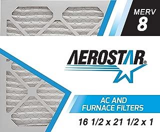 Aerostar 16 1/2x21 1/2x1 MERV 8, Pleated Air Filter, 16 1/2x21 1/2x1, Box of 4, Made in The USA