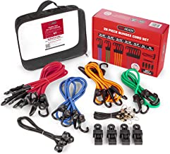 PROREADY Bungee Cords with Hooks, 28 Piece Multicolor Assortment and Bag - Heavy-Duty Elastic Bungee Rope Set with 4 Canopy Ties and Tarp Clips for Cargo, Luggage - Premium, Versatile Shock Cords