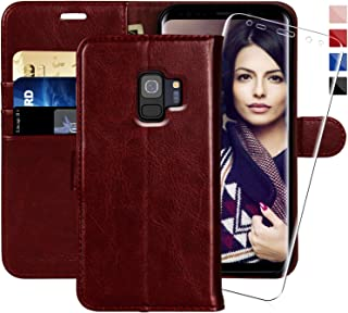 Galaxy S9 Wallet Case, 5.8-inch,MONASAY [Included Screen Protector] Flip Folio Leather Cell Phone Cover with Credit Card Holder for Samsung Galaxy S9