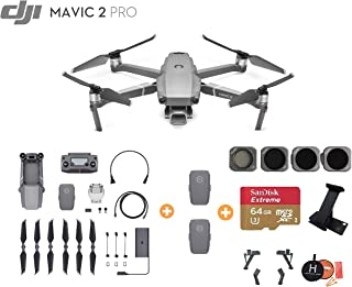 DJI Mavic 2 Pro Drone Quadcopter withTwo Extra Batteries, Ultimate Bundle, with 64GB SD Card, Filter Set (CPL ND8 ND16 ND32), Landing Gear, Landing Pad and iPad Holder