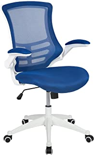 Flash Furniture Mid-Back Blue Mesh Swivel Ergonomic Task Office Chair with White Frame and Flip-Up Arms - BL-X-5M-WH-BLUE-GG