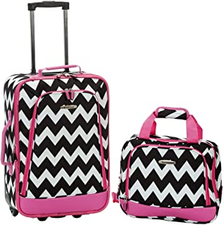 Best Fashion Softside Upright Luggage Set, Pink Chevron, 2-Piece (14/19) Reviews