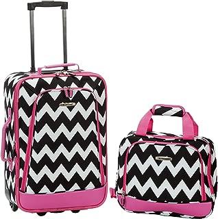 2 Piece Expandable Luggage Set, Pink Chevron