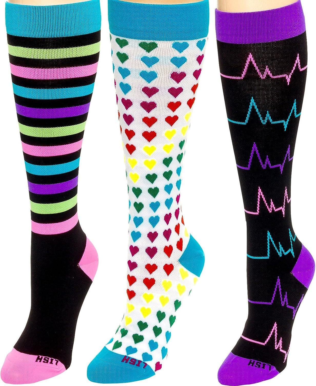 LISH Nurse 1525mmHG Graduated Compression Socks for Women 3 Pack