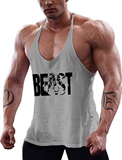 Men's Gym Workout Bodybuilding Printed Muscle Stringer Extreme Y Back Fitness Tank Tops
