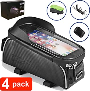 Inovare Designs Bike Phone Front Frame Bag - Waterproof Bicycle Top Tube Cycling Phone Mount Pack with Touch Screen Sun Visor Large Capacity Phone Case for Phone Below 6.5'' iPhone 7 8 Plus XS MAX