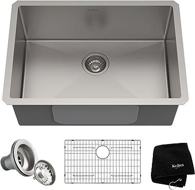 Kraus KHU100-26 Standart Pro 16 Gauge Undermount Single Bowl Kitchen Sink, 26 Inch, Stainless Steel