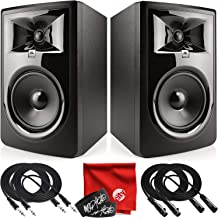 JBL Professional 306P MkII Next-Generation 6-Inch 2-Way Powered Studio Monitor Pair Bundle with 2x Mophead 10-Foot TRS Cable, 2x 10-Foot XLR Cable, 2x Cable Ties and Microfiber Cloth