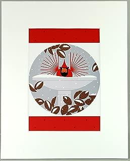 Charley Harper, B-r-r-r-r-rd Bath, Bird Bath, Birdbath white Matted Litho Print