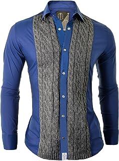 D&R Fashion Mens Shirt Cipo Baxx Casual Formal Quaint Original Decorative Knit Finishings