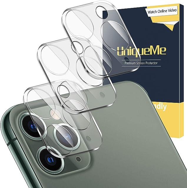 UniqueMe [3 Piezas] Protector de Pantalla de Lente de Cámara para iPhone 11 Pro/iPhone 11 Pro MAX [9H Dureza] [HD Film] [Anti-Mancha] Cristal Vidrio Templado de Lente de Cámara Premium