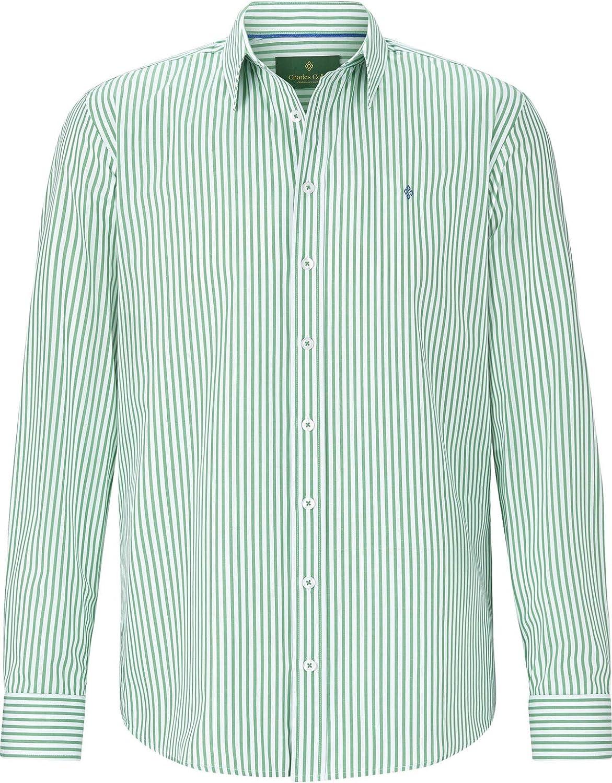 Charles Colby Camisa de manga larga para hombre, diseño de rayas