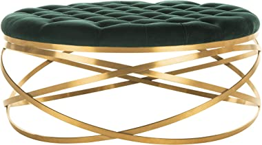 Safavieh Home Collection Rumi Emerald and Gold Tufted Velvet Ottoman,