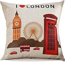 ChezMax Cotton Linen Blend Cushion Square Decorative Throw Pillow World Tour Series Cover London Tour