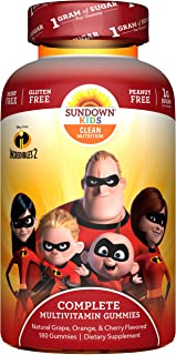 Sundown Kids Multivitamin Gummies, Incredibles 2 Shapes, 180 Count, Children's Gummy with Vitamin D, Vitamin C, Vitamin B6, Vitamin E, Chewable Vitamins for Kids in Fruit Flavors