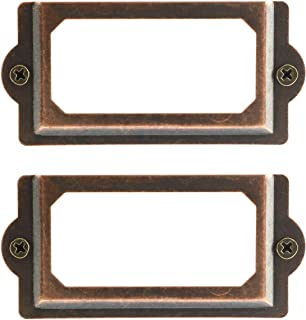 Heyous 24PCS 70 x 33mm Metal Label Pull Frame Handle File Name Card Holder with Mounting Screws for Furniture Cabinet Drawer Box Case Bin Red Bronze