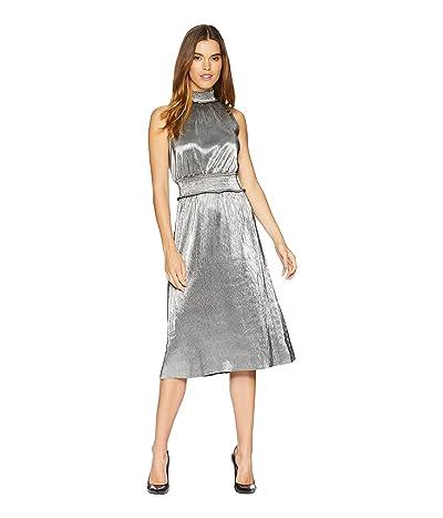 kensie Pleated Shine Dress KSNK8315 (Black/Silver) Women