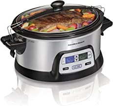 Hamilton Beach Stay or Go Portable 6-Quart Programmable Slow Cooker With FlexCook Dual Digital Timer for 2 Heat Settings, ...