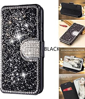iPhone 11 Case 6.1 Inch (2019) Wallet Case YMHML Glitter Diamond Bling Rhinestone Flip Case Magnetic Bright Crystal Protective Leather with Card Slot & Kickstand for iPhone XI